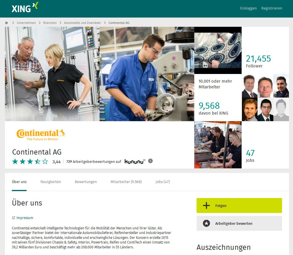 Screenshot der Xing-Seite von Continental