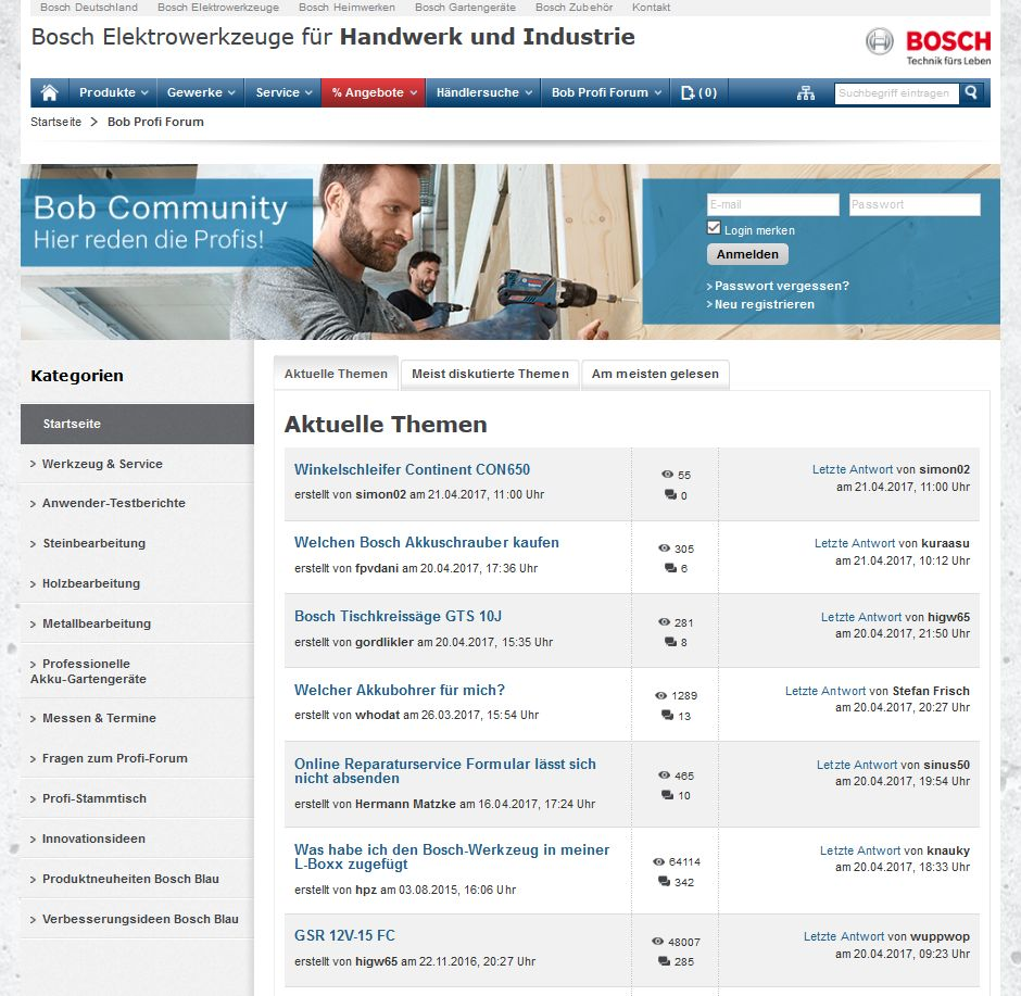 Screenshot: Bosch-Community unter httpss://www.bosch-professional.com/de/de/community/