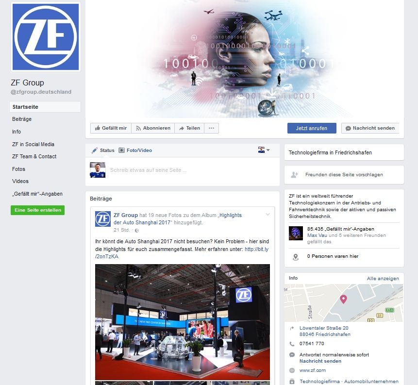 Screenshot: ZF-Facebook-Seite